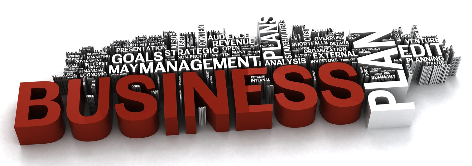 Royalty-free clipart picture of a 3d red and white business plan word collage, on a shaded background.